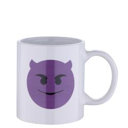Бяла чаша с емотикон дяволче - Тенджери, Тигани и други Готварски продукти