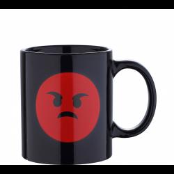 Черна чаша с ядосан емотикон - Тенджери, Тигани и други Готварски продукти