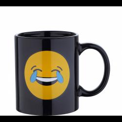 Черна чаша със смеещ се емотикон - Тенджери, Тигани и други Готварски продукти