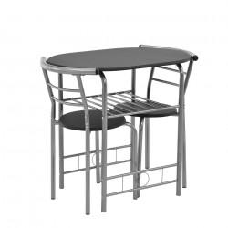 Маса с два стола Bisztró сет 80 x 53 cm, Метал/MDF, Черен / Сребрист - Комплекти маси и столове