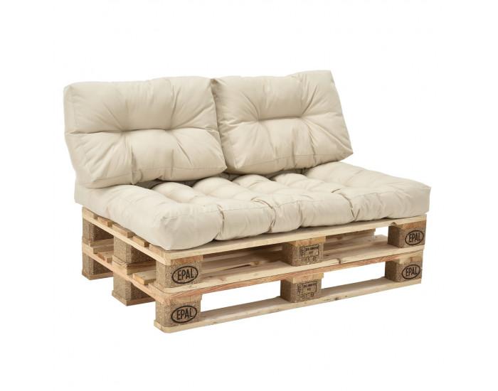 Гарнитура мебели от палети с възглавници  Бежов, Модел Б -