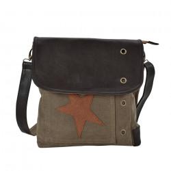 Дамска чанта от лен 27 x 30 x 6 см. със сиво-червена звезда - Куфари и Чанти