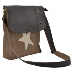 Дамска чанта от лен 27 x 30 x 6 см. със кафяво-бежова звезда - Куфари и Чанти