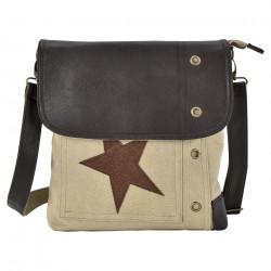 Дамска чанта от лен 27 x 30 x 6 см. с бежово-кафява звезда - Куфари и Чанти