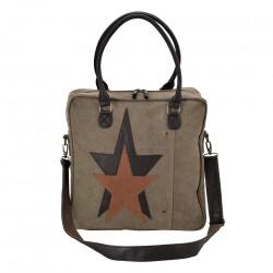 Дамска чанта от лен 40 x 40 x 10 см. сиво-кафява - Куфари и Чанти