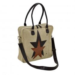 Дамска чанта от лен 40 x 40 x 10 см.- бежова - Куфари и Чанти