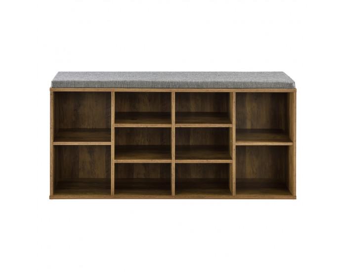Шкаф за обувки с повърхност за сядане 103 x 30 x 48 см, ПДЧ /Текстил, Кафяв/Сив -