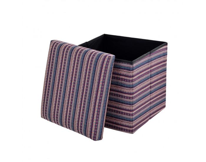 Сгъваема табуретка с място за съхранение ,30cm x 30cm x 30cm, Многоцветна лилава -
