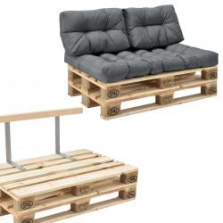Гарнитура мебели от палети с възглавници  Светлосив, Модел Б -