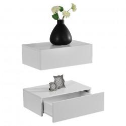 2 броя нощни шкафчета за стенен монтаж с едно чекмедже Бял матиран, 46x30x15cm - Сравняване на продукти