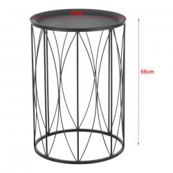 Комплект от 2 броя масички за хол Декоративна основа, Метал, Черни -