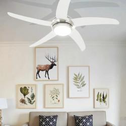 Sonata Декоративен вентилатор за таван с осветление, 128 см, бял - Климатични електроуреди