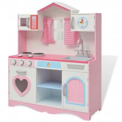 Sonata Детска играчка - Кухня, дърво, 82x30x100 см, розово и бяло - Сравняване на продукти