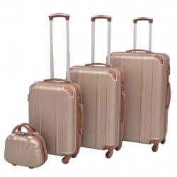 Sonata Комплект от 4 броя твърди куфари на колелца, цвят шампанско - Куфари и Чанти