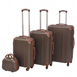 Sonata Комплект от 4 броя твърди куфари на колелца, цвят кафе - Куфари и Чанти