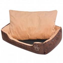Sonata Кучешко легло с възглавница, PU изкуствена кожа, S, кафяво - Домашни любимци