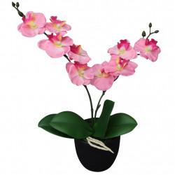 Sonata Изкуствено растение орхидея със саксия, 30 см, розова - Изкуствени цветя
