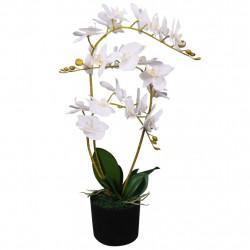 Sonata Изкуствено растение орхидея със саксия, 65 см, бяло - Изкуствени цветя