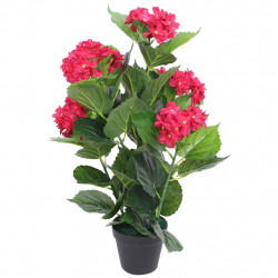Sonata Изкуствено растение хортензия със саксия, 60 см, червена - Изкуствени цветя