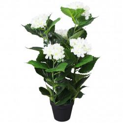 Sonata Изкуствено растение хортензия със саксия, 60 см, бяла - Изкуствени цветя