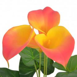 Sonata Изкуствено растение кала със саксия, 45 см, червено и жълто - Изкуствени цветя