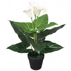 Sonata Изкуствено растение кала със саксия, 45 см, бяло - Изкуствени цветя