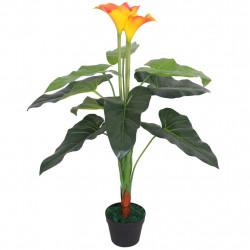 Sonata Изкуствено растение кала със саксия, 85 см, червено и жълто - Изкуствени цветя