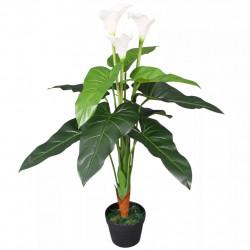 Sonata Изкуствено растение кала със саксия, 85 см, бяло - Изкуствени цветя