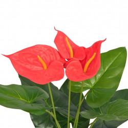 Sonata Изкуствено растение антуриум със саксия, 45 см, червено и жълто - Изкуствени цветя
