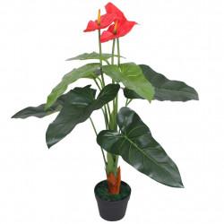 Sonata Изкуствено растение антуриум със саксия, 90 см, червено и жълто - Изкуствени цветя