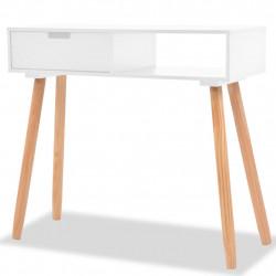 Sonata Конзолна маса, иглолистна дървесина масив, 80x30x72 cм, бяла - Тоалетки