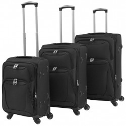 Sonata Комплект от 3 броя меки куфари на колелца, черни - Куфари и Чанти