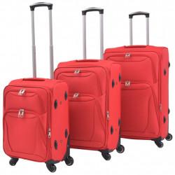 Sonata Комплект от 3 броя меки куфари на колелца, червени - Куфари и Чанти