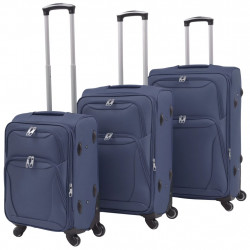 Sonata Комплект от 3 броя меки куфари на колелца, тъмносин - Куфари и Чанти