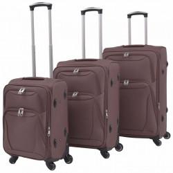 Sonata Комплект от 3 броя меки куфари на колелца, цвят кафе - Куфари и Чанти
