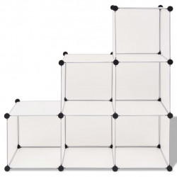 Sonata Шкаф за съхранение, на кубове, 6 отделения, бял - Шкафове за обувки