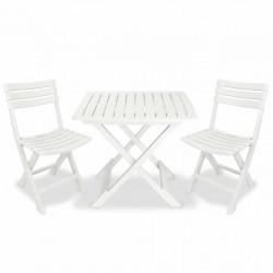 Sonata Сгъваем бистро комплект, 3 части, пластмаса, бял - Градински комплекти