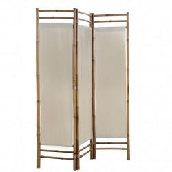 Sonata Сгъваем 3-панелен параван за стая, бамбук и текстил, 120 cм - Аксесоари за Всекидневна