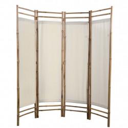 Sonata Сгъваем 4-панелен параван за стая, бамбук и текстил, 160 cм - Аксесоари за Всекидневна