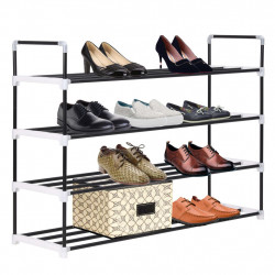 Sonata Стелаж за обувки с 4 рафта, метал и пластмаса, черен - Шкафове за обувки