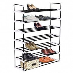 Sonata Стелаж за обувки със 7 рафта, метал и пластмаса, черен - Шкафове за обувки