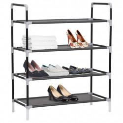 Sonata Стелаж за обувки с 4 рафта, метал и нетъкан текстил, черен - Шкафове за обувки