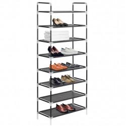 Sonata Стелаж за обувки с 8 рафта, метал и нетъкан текстил, черен - Шкафове за обувки