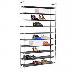 Sonata Стелаж за обувки с 10 рафта, метал и нетъкан текстил, черен - Шкафове за обувки