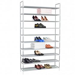Sonata Стелаж за обувки с 10 рафта, метал и нетъкан текстил, сребро - Шкафове за обувки