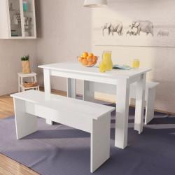 Sonata Трапезна маса и пейки, 3 части, ПДЧ, бял - Комплекти маси и столове