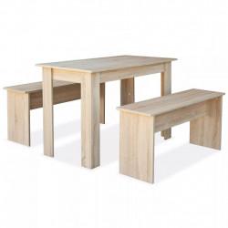 Sonata Трапезна маса и пейки, 3 части, ПДЧ, дъб - Комплекти маси и столове