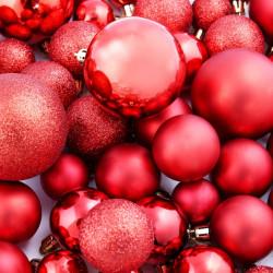 Sonata Комплект коледни топки от 113 части, 6 см, червени - Сезонни и Празнични Декорации