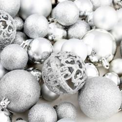 Sonata Комплект коледни топки от 100 части, 6 см, сребро - Сезонни и Празнични Декорации
