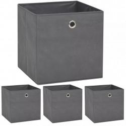 Sonata Кутии за съхранение, 4 бр, нетъкан текстил, 32x32x32 см, сиви - Шкафове за обувки